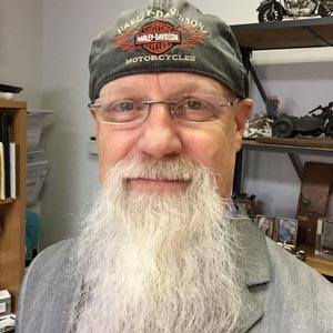 Randy wearing his well-worn Harley Davidson hat