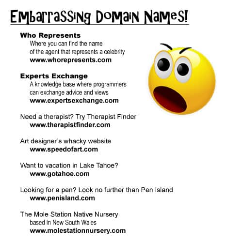 Don't choose an embarrassing domain name!