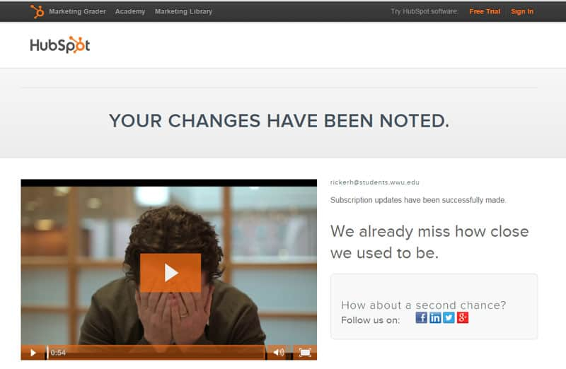 HubSpot's custom Unsubscribe page
