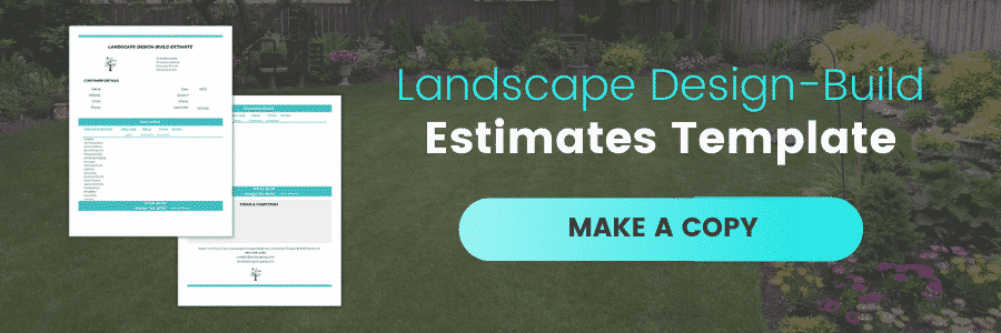 Landscape Design Build Bid Estimates Template, Make a Copy