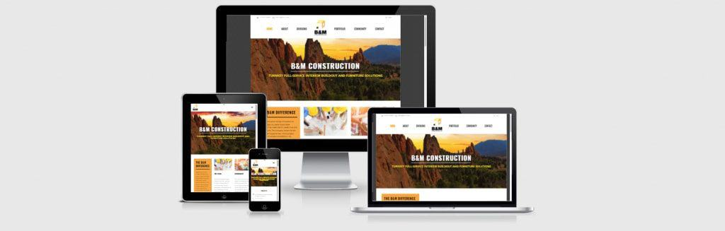 Website screenshots of B&M Construction, a ground-up construction service provider in Colorado Springs, CO.
