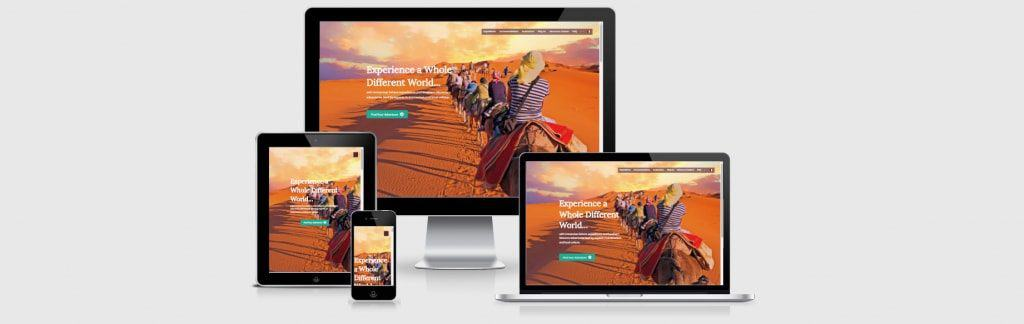 Website screenshots of Cherg Expeditions, a travel agency that offers expeditions in the Sahara Desert and Southern Morocco.