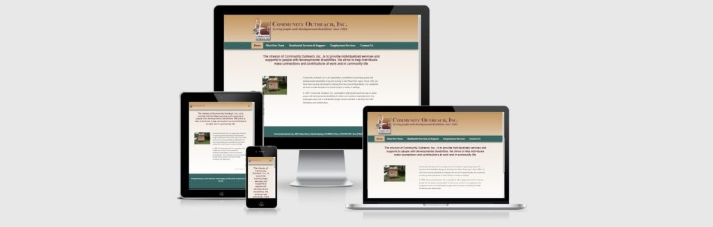 Website screenshots of Community Outreach, Inc..
