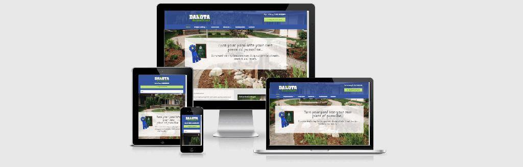 Website screenshots of Dakota OutdoorScapes, landscaping professionals.