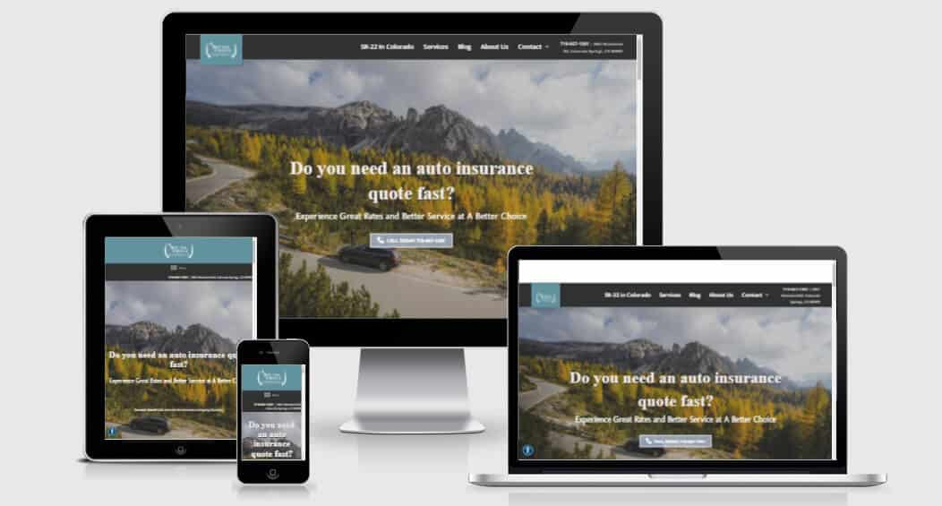 A Better Choice Insurance's website on various devices