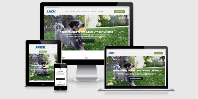 Website screenshots of J. Rick Lawn & Tree