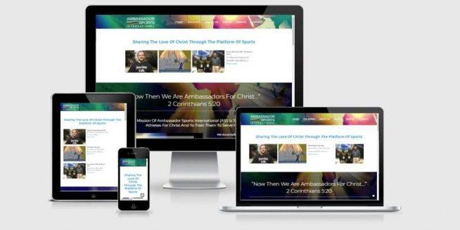 Website screenshots of Ambassador Sports International
