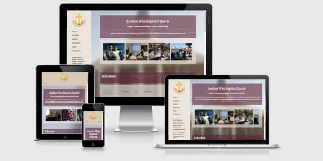 Website screenshots of Anchor Way Baptist Church in Colorado Springs, CO