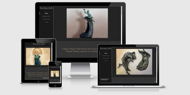 Website screenshots of Karen Cauvin Eustis, award winning bronze statue artist.