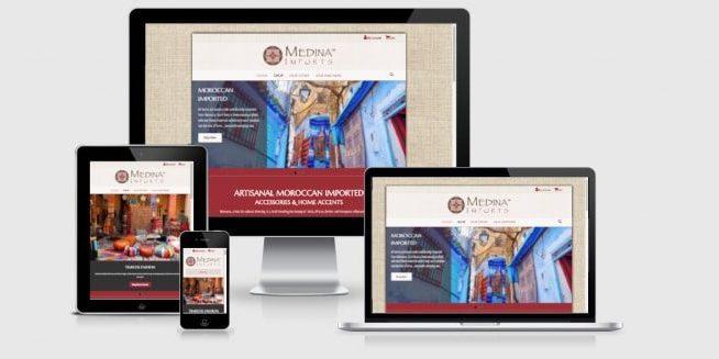 Website screenshots of Medina Imports.