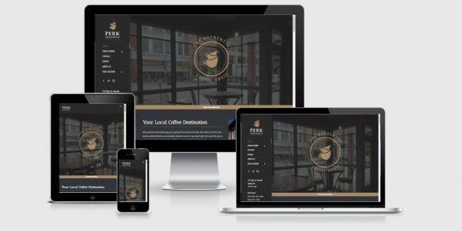 Website screenshots for The Perk Downtown