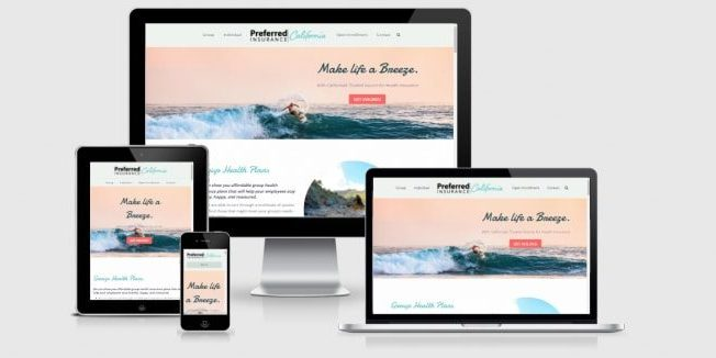 Website screenshots of Preferred Insurance CA