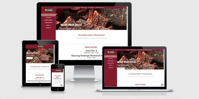 Website screenshots of Ted Baker Meats.