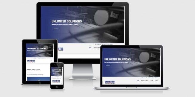 Website screenshots of Unlimited Printing.