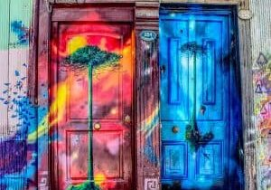 Two brightly colored doors with represent the two sides to ever business branding perception.