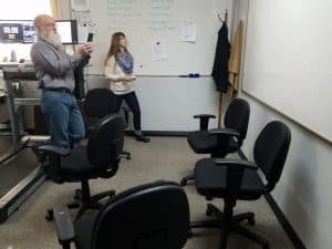 Randy and Danielle at the whiteboard