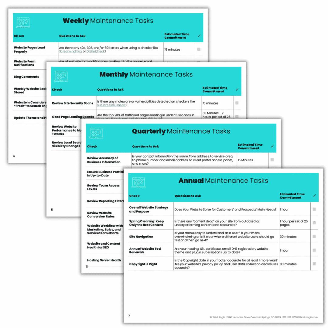 Sample image of Maintenance Tasks