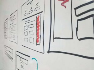 Wireframe diagram on white board for web design